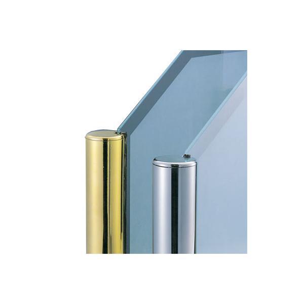 ガラススクリーンポール(ブースバー) Pタイプ 平二方 45mm x L400mm 半球頭 ボルト固定 クローム