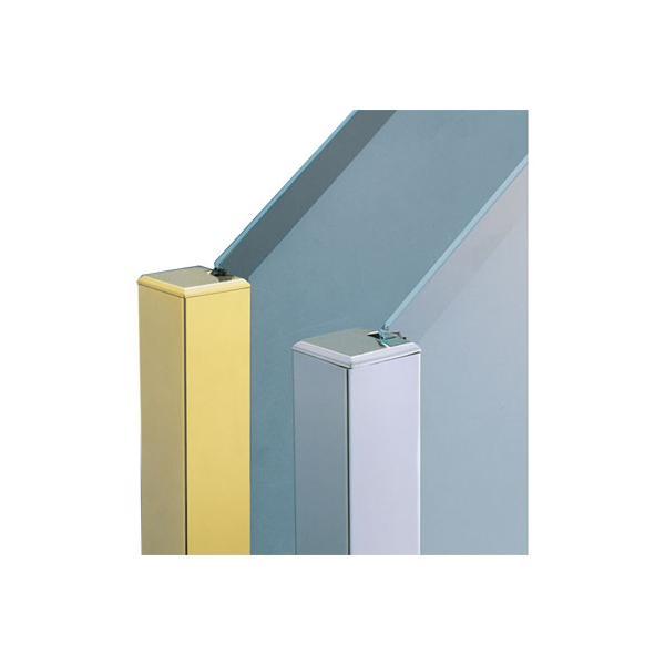 ガラススクリーンポール(ブースバー) Pタイプ 一方 40mm(角型) x L350mm 四角すい頭 ボルト固定 クローム