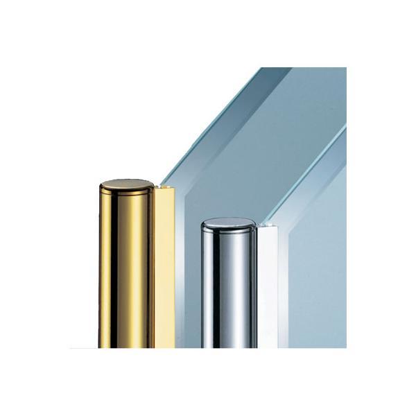 ガラススクリーンポール(チャンネルポール) Sタイプ 角二方 32mm x L400mm ボール頭35 ボルト固定 ゴールド