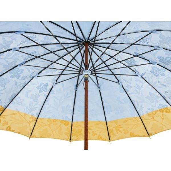 前原光榮商店 花の総柄ボーダージャガード婦人用16本骨雨傘(ライトブルー)/皇室御用達前原光栄商店製