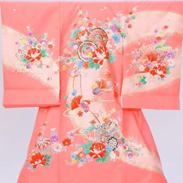 5n83 鼓 御所車 扇面に彩花〔産着レンタル〕着物レンタル 祝着レンタル〔お宮参り〕簡単着せ方マニュアル 産着 赤ちゃん 着物 女の子用|e-kimono-rental