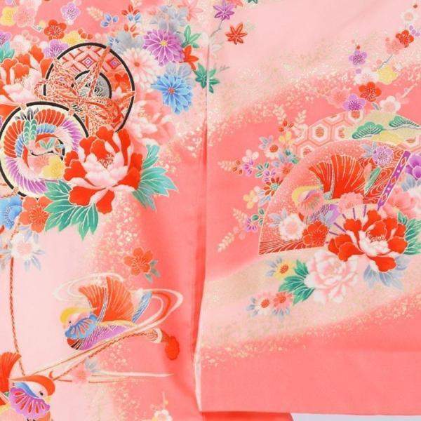 5n83 鼓 御所車 扇面に彩花〔産着レンタル〕着物レンタル 祝着レンタル〔お宮参り〕簡単着せ方マニュアル 産着 赤ちゃん 着物 女の子用|e-kimono-rental|02