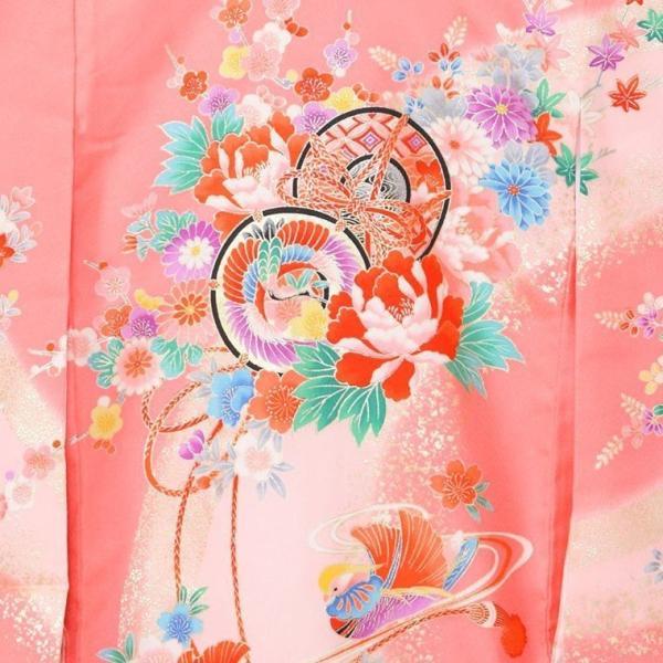 5n83 鼓 御所車 扇面に彩花〔産着レンタル〕着物レンタル 祝着レンタル〔お宮参り〕簡単着せ方マニュアル 産着 赤ちゃん 着物 女の子用|e-kimono-rental|03