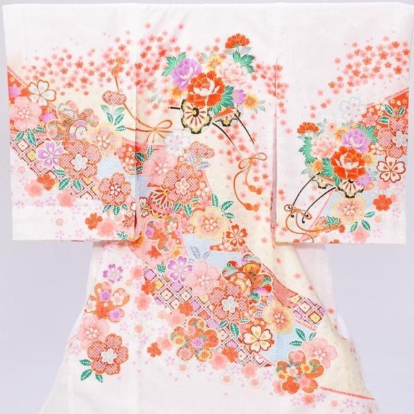 5n85 花車 まり 季節の花〔産着レンタル〕着物レンタル 祝着レンタル〔お宮参り〕簡単着せ方マニュアル 産着 赤ちゃん 着物 女の子用 e-kimono-rental