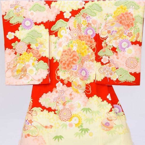 5n90 乙葉 うさぎ 牡丹 まり〔産着レンタル〕着物レンタル 祝着レンタル〔お宮参り〕簡単着せ方マニュアル 産着 赤ちゃん 着物 女の子用 e-kimono-rental