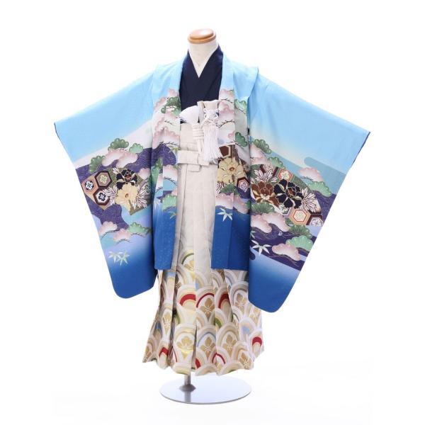 七五三 5歳 男の子 七五三 着物 5歳 753 男 着物 往復送料無料 フルセットレンタル 簡単着付けマニュアル付| 花うさぎブランド 着物(水色系)| E-5-016|e-kimono-rental
