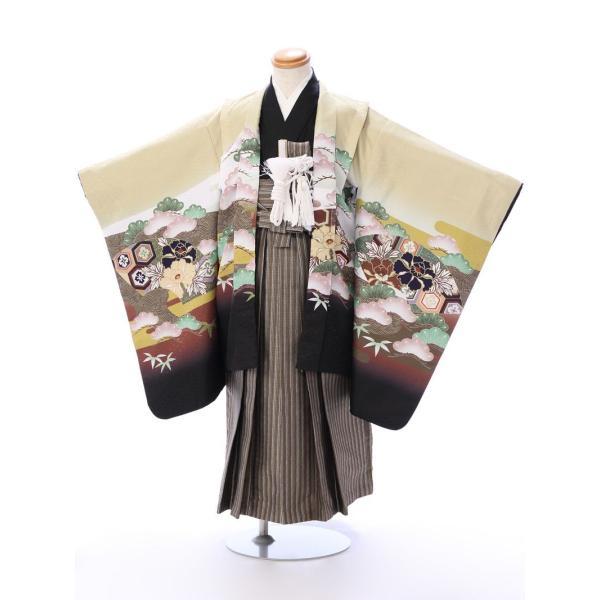 七五三 5歳 男の子 七五三 着物 5歳 753 男 着物 往復送料無料 フルセットレンタル 簡単着付けマニュアル付| 花うさぎブランド 着物(金茶系)| E-5-019|e-kimono-rental