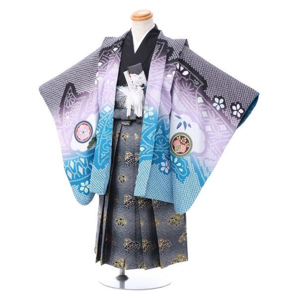 七五三 5歳 男の子 七五三 着物 5歳 753 男 着物 往復送料無料 フルセットレンタル 簡単着付けマニュアル付 ブランド陽気な天使(黒青系) E-5-036 e-kimono-rental