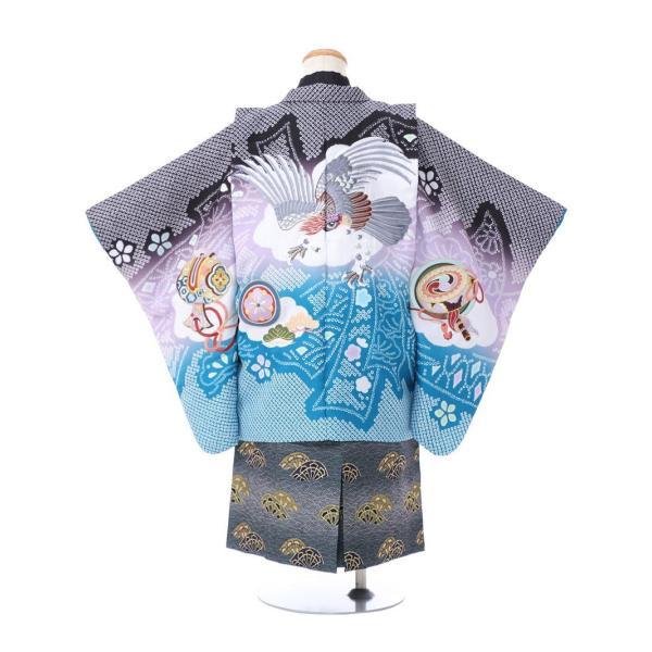 七五三 5歳 男の子 七五三 着物 5歳 753 男 着物 往復送料無料 フルセットレンタル 簡単着付けマニュアル付 ブランド陽気な天使(黒青系) E-5-036 e-kimono-rental 02