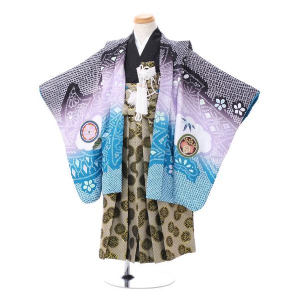 七五三 5歳 男の子 七五三 着物 5歳 753 男 着物 往復送料無料 フルセットレンタル 簡単着付けマニュアル付|ブランド陽気な天使(黒青系)|E-5-037|e-kimono-rental