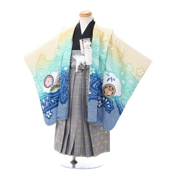 七五三 5歳 男の子 七五三 着物 5歳 753 男 着物 往復送料無料 フルセットレンタル 簡単着付けマニュアル付 ブランド陽気な天使(青緑系) E-5-040 e-kimono-rental