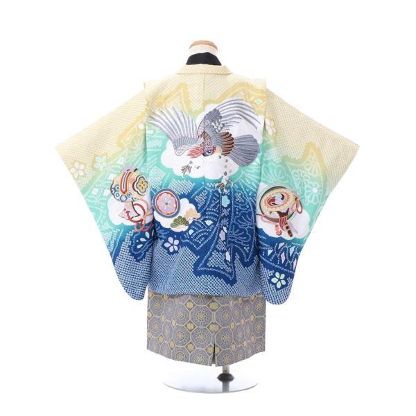 七五三 5歳 男の子 七五三 着物 5歳 753 男 着物 往復送料無料 フルセットレンタル 簡単着付けマニュアル付 ブランド陽気な天使(青緑系) E-5-040 e-kimono-rental 02