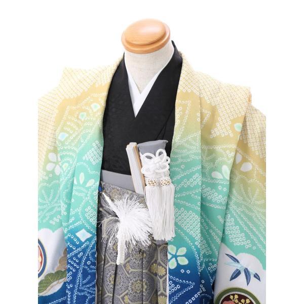 七五三 5歳 男の子 七五三 着物 5歳 753 男 着物 往復送料無料 フルセットレンタル 簡単着付けマニュアル付 ブランド陽気な天使(青緑系) E-5-040 e-kimono-rental 03