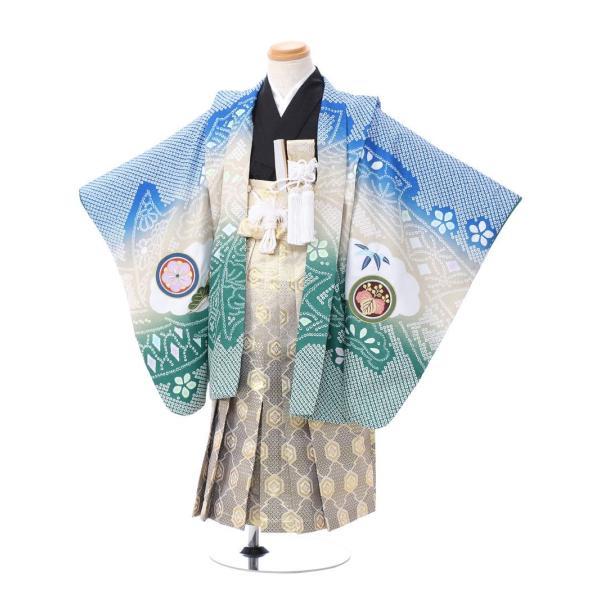七五三 5歳 男の子 七五三 着物 5歳 753 男 着物 往復送料無料 フルセットレンタル 簡単着付けマニュアル付|陽気な天使(青緑ベージュ系)|E-5-042|e-kimono-rental