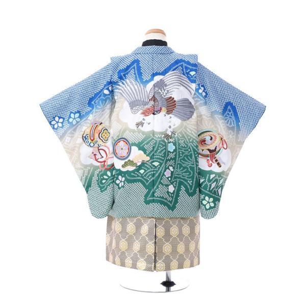 七五三 5歳 男の子 七五三 着物 5歳 753 男 着物 往復送料無料 フルセットレンタル 簡単着付けマニュアル付|陽気な天使(青緑ベージュ系)|E-5-042|e-kimono-rental|02