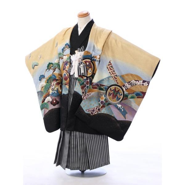 七五三 5歳 男の子 七五三 着物 5歳 753 男 着物 往復送料無料 フルセットレンタル 簡単着付けマニュアル付| E-5-954      貸衣装   袴|e-kimono-rental