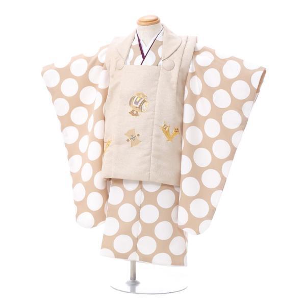七五三 着物 3歳 753 着物 3歳 七五三 3歳 七五三 着物 753 着物レンタル|ドット柄の被布(ベージュ系)(白系)|男の子(三歳・被布)E-H-019 【レンタル】|e-kimono-rental