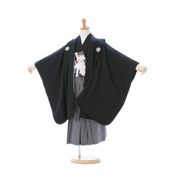 七五三 5歳 男の子 七五三 着物 5歳 753 男 着物 往復送料無料 フルセットレンタル 簡単着付けマニュアル付| K5-010 黒紋 小さいサイズ      貸衣装   袴|e-kimono-rental