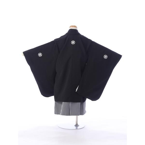 七五三 5歳 男の子 七五三 着物 5歳 753 男 着物 往復送料無料 フルセットレンタル 簡単着付けマニュアル付| K5-010 黒紋 小さいサイズ      貸衣装   袴|e-kimono-rental|02