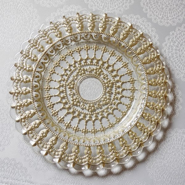 ガラス食器・ゴールドレース ケーキプレートS 皿 22cm トルコ製|e-kirakukan