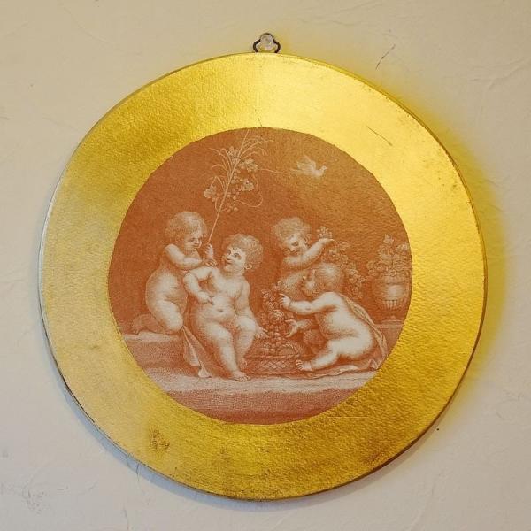 【訳あり・即納!・一部キズあり】天使の板絵 エンジェル 雑貨 天使雑貨 丸形 ゴールド|e-kirakukan