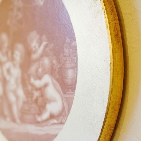 【訳あり・即納!・一部キズあり】天使の板絵 エンジェル 雑貨 天使雑貨 丸形 ゴールド|e-kirakukan|04