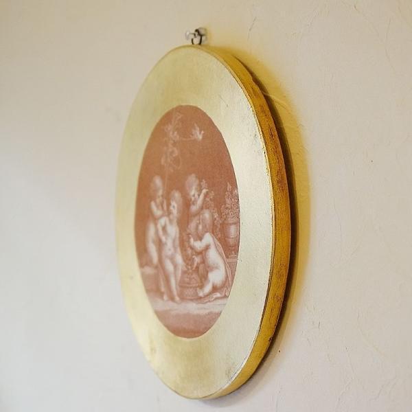 【訳あり・即納!・一部キズあり】天使の板絵 エンジェル 雑貨 天使雑貨 丸形 ゴールド|e-kirakukan|05