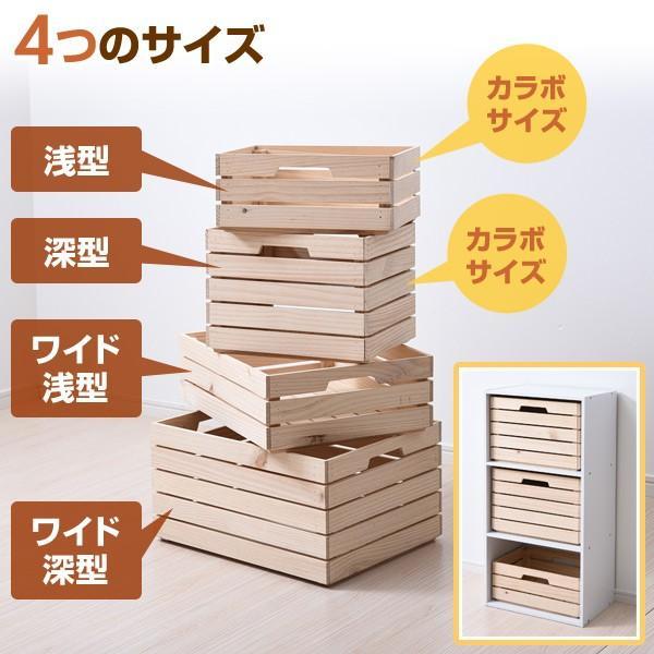 2個組 パイン材 木箱 深型 TWB-2525(NA) 無塗装 収納ボックス インナーボックス インナーケース 収納ケース ウッドボックス 本棚 おもちゃ箱【あすつく】|e-kurashi|03