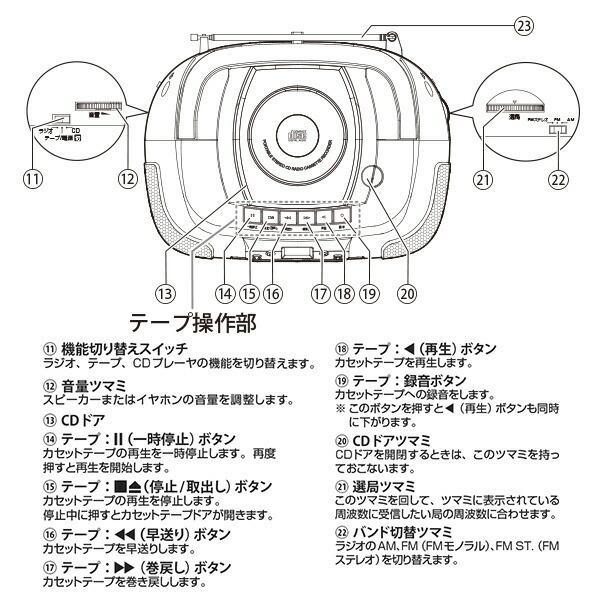 CDラジカセ (AM/FM・カセット・CD)AC100V/乾電池仕様 YCD-C600(S) ラジカセ ラジオ 録音 カセットテープ ラジオレコーダー カセットレコーダー【あすつく】|e-kurashi|05
