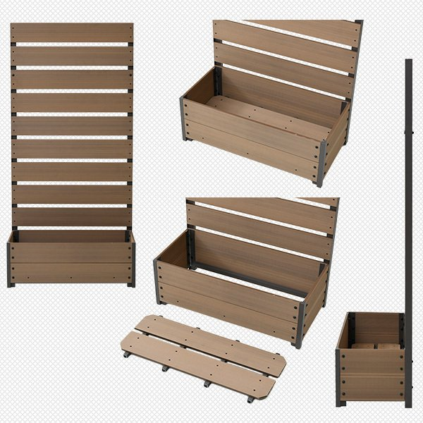 フェンス 目隠し 人工木 プランター付き (幅72 高さ150cm) YPF-1570 人工木プランターフェンス ラティス付きプランターボックス プランターボックス【あすつく】|e-kurashi|10