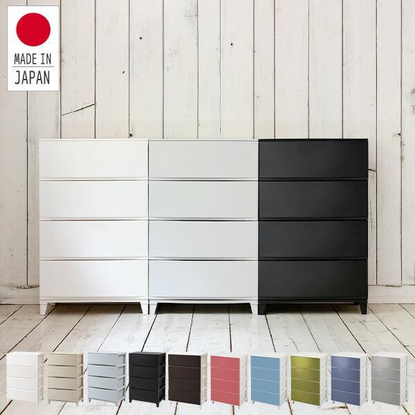 リビングチェスト4段幅54ルームス4段ワイド 日本製 引き出しプラスチックケース衣装ケース収納ボックスサンカ(SANKA)