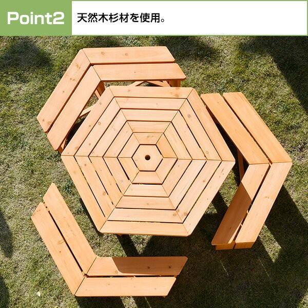 ガーデンテーブル&ベンチ 4点セット ガーデンテーブルセット 木製 ガーデンファニチャー ガーデンベンチ ガーデンチェアー HXT-135B|e-kurashi|04