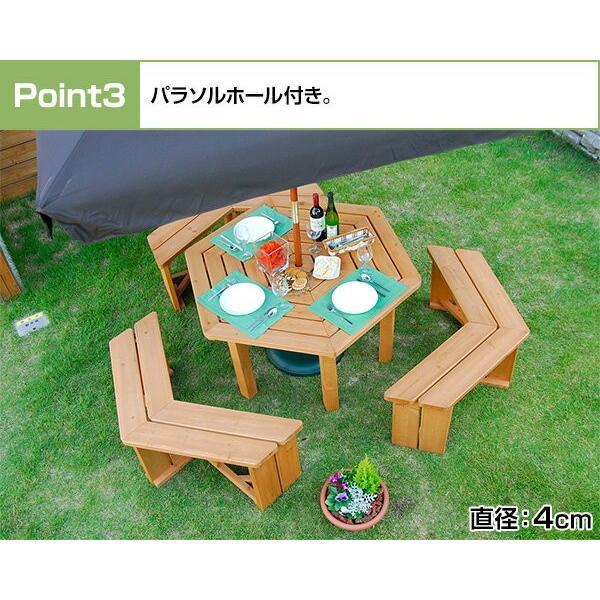 ガーデンテーブル&ベンチ 4点セット ガーデンテーブルセット 木製 ガーデンファニチャー ガーデンベンチ ガーデンチェアー HXT-135B|e-kurashi|05