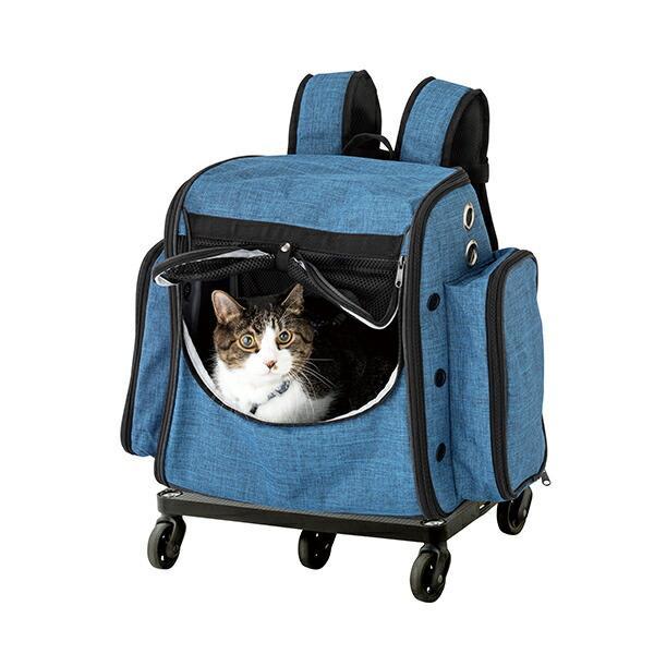 カート付き 大容量 リュック 移動 楽々 GOKIGEN!キャリーわんにゃん (適応体重:10kg以下) ブルー キャリーカート ペットカート 犬 猫 キャリーバッグ リュック