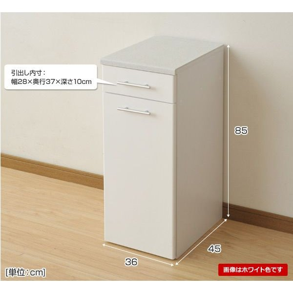 人工大理石天板大型ダストカウンター(45L) SSDB-1JDR*(DBR) ダークブラウン キッチンカウンター ダストボックス レンジ台 レンジラック|e-kurashi|03