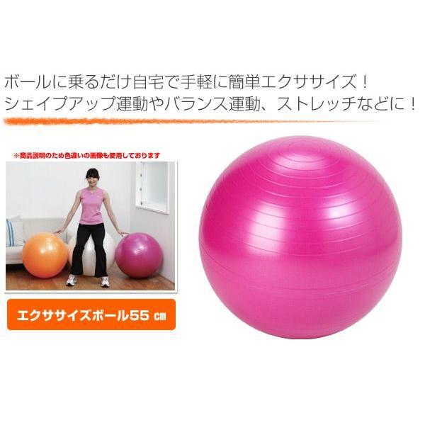 エクササイズボール 55cm エアポンプ付 EXG124P ピンク バランスボール フィットネスボール ヨガボール|e-kurashi|02