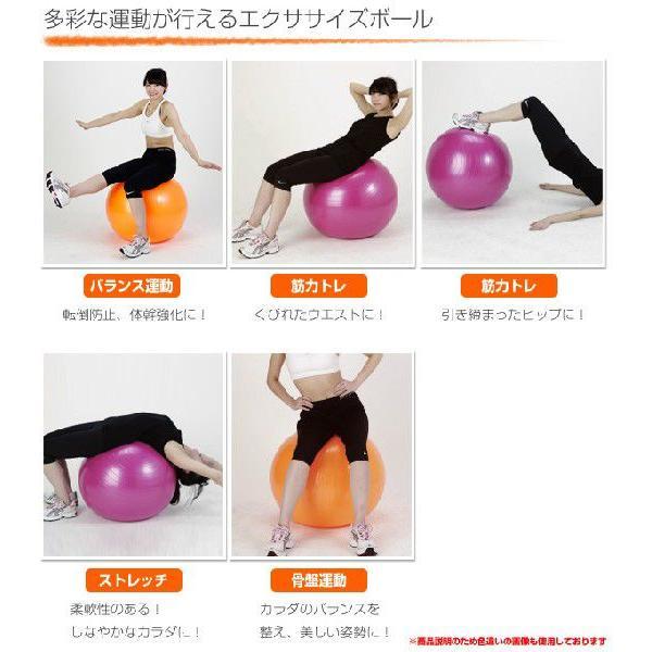 エクササイズボール 55cm エアポンプ付 EXG124P ピンク バランスボール フィットネスボール ヨガボール|e-kurashi|04