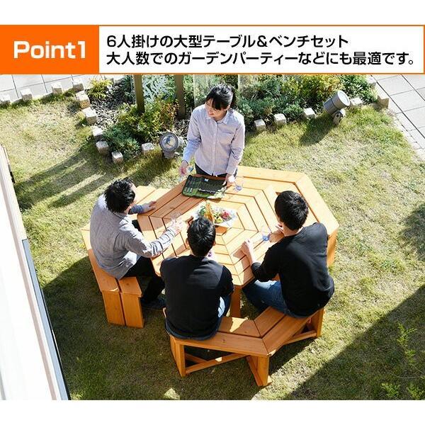 ガーデンテーブル&ベンチ 4点セット ガーデンテーブルセット 木製 バーベキューテーブル bbqテーブル ガーデンファニチャーHXT-135SBR|e-kurashi|03