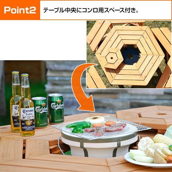 ガーデンテーブル&ベンチ 4点セット ガーデンテーブルセット 木製 バーベキューテーブル bbqテーブル ガーデンファニチャーHXT-135SBR|e-kurashi|04