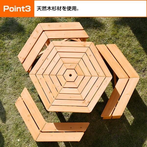 ガーデンテーブル&ベンチ 4点セット ガーデンテーブルセット 木製 バーベキューテーブル bbqテーブル ガーデンファニチャーHXT-135SBR|e-kurashi|05