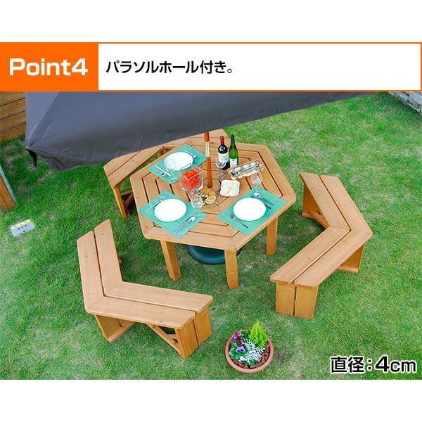 ガーデンテーブル&ベンチ 4点セット ガーデンテーブルセット 木製 バーベキューテーブル bbqテーブル ガーデンファニチャーHXT-135SBR|e-kurashi|06