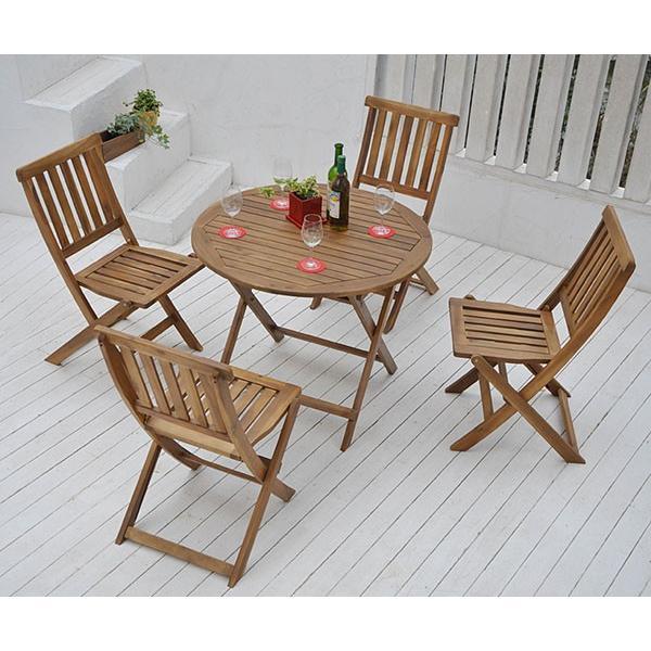 ガーデンテーブル&チェア 5点セット ガーデンテーブルセット 木製 フォールディングテーブル 折りたたみ VFC-T5085A&VFC-C3042JE【あすつく】|e-kurashi|03