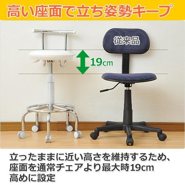 カウンターチェア 合成皮革 キャスター バーチェア キッチンチェアー キャスター付き 回転椅子 回転チェア CB-388(W)【あすつく】|e-kurashi|04