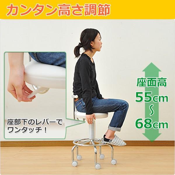 カウンターチェア 合成皮革 キャスター バーチェア キッチンチェアー キャスター付き 回転椅子 回転チェア CB-388(W)【あすつく】|e-kurashi|05
