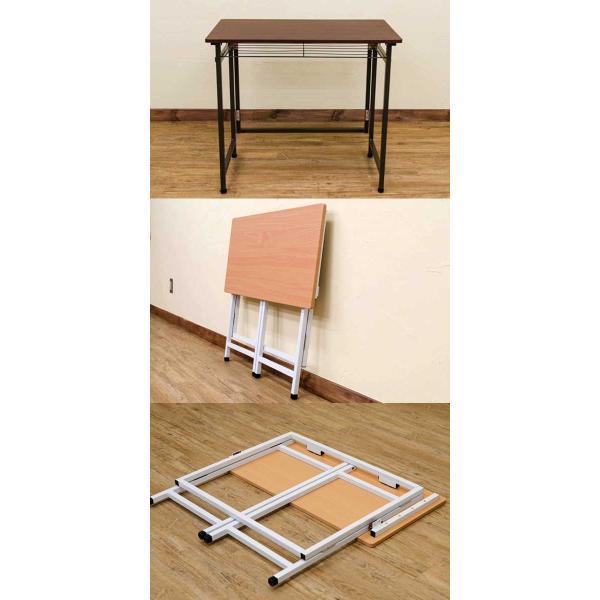 パソコンデスク おしゃれ 80cm 折りたたみデスク 木製 シンプル コンパクト|e-living|03