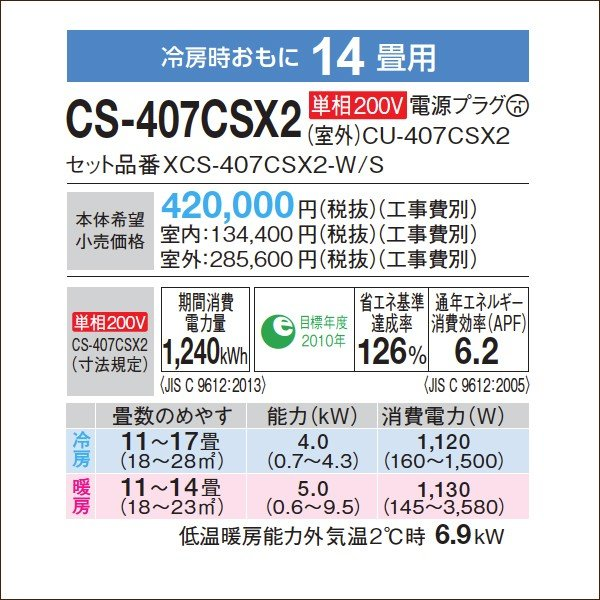 標準取付費用込み CS-407CSX2 パナソニックエアコン SXシリーズ 14畳用 単相200V コンパクト/ナノイーX/お掃除/エコナビ|e-maxjapan|04