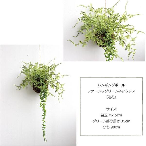 ハンギングボール ファーン&グリーンネックレス 多肉植物 造花 CT触媒|e-mintcafe|03
