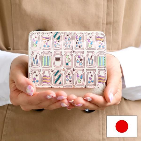手描き花柄本革BOX二つ折り財布