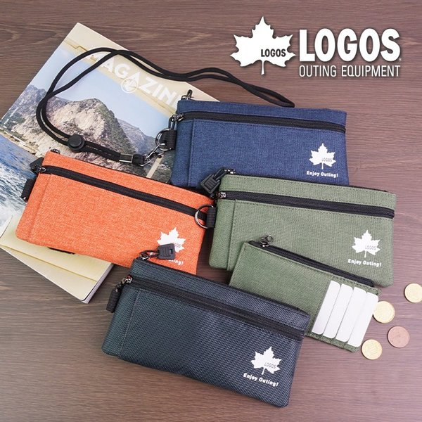 ポーチコインケース財布メンズカードケーススマホポーチネックストラップカジュアルポリエステルスポーティコンパクトおでかけロゴスLO