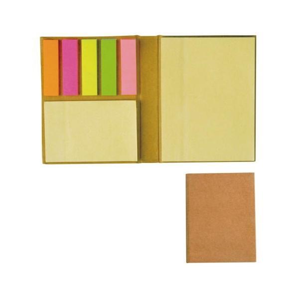 ブック型付箋メモ S2572 表紙に再生クラフト紙を使用したメモ帳セット 21z379g09
